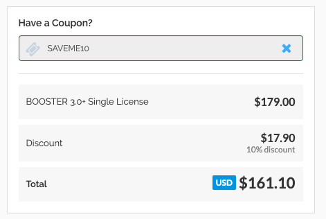 Booster Theme Coupon Code Applied